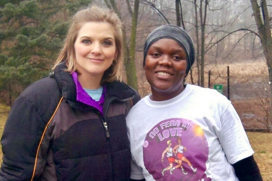 Karen Bontrager (left) founder of the No Fear in Love race, poses with a race participant. - PHOTO COURTESY OF NO FEAR IN LOVE