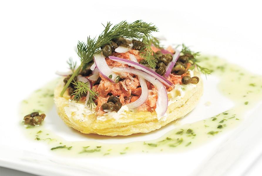 Smoked salmon tart from Ambrosia Bistro and Wine Bar