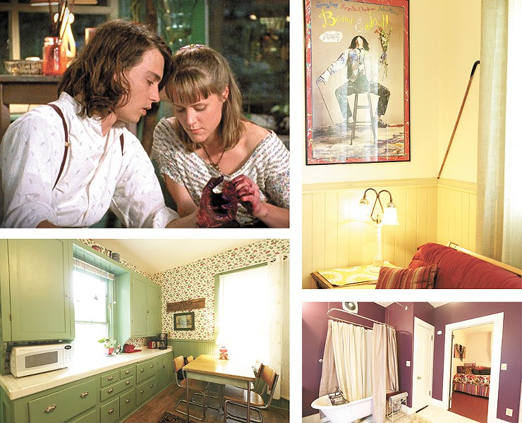 Stars Johnny Depp and Mary Stuart Masterson (top left); The refurbished home features a color scheme that pays tribute to the beloved film. - YOUNG KWAK