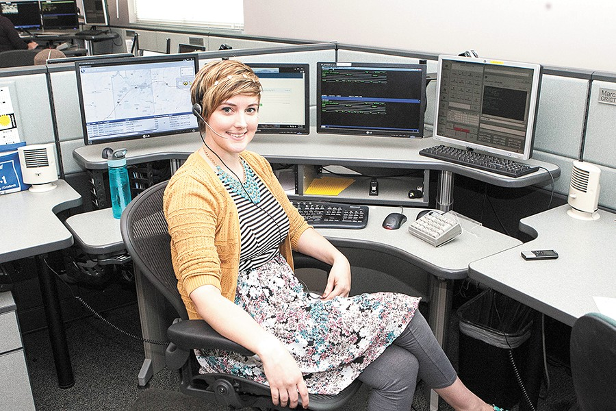 """With three years on the 911 desk, Marci Prettyman is already considered a """"lifer."""" - MEGHAN KIRK"""