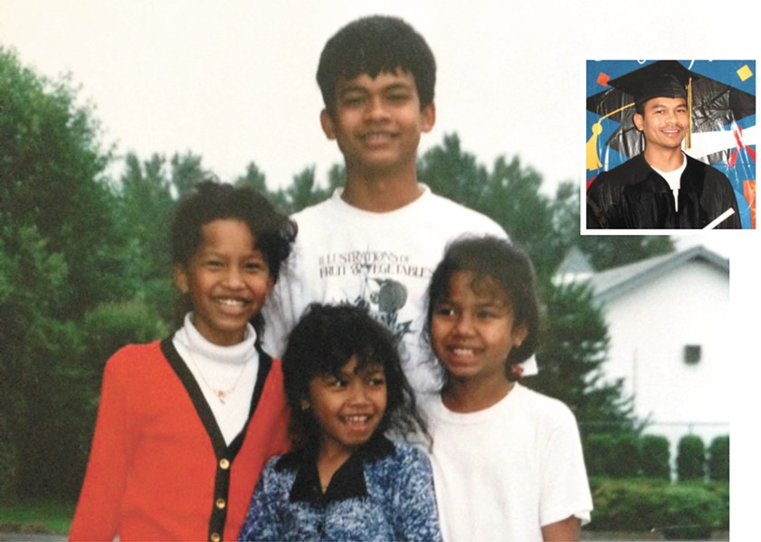 Vy Thang with his sisters. INSET: Thang at a graduation inside prison.