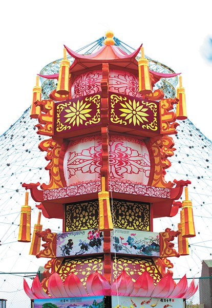A three-story-high pagoda lantern sits in the shadow of the park's Pavilion. - KRISTEN BLACK