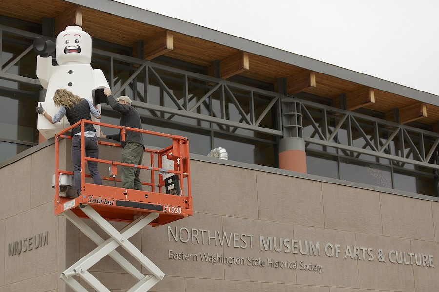 MAC staff have decorated the museum with three massive Lego minifigures—all made locally. - YOUNG KWAK