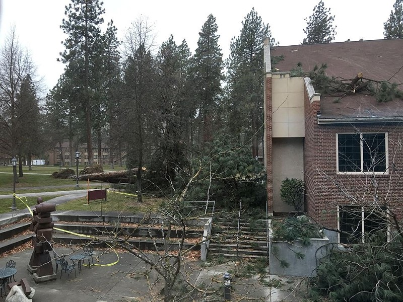 The Whitworth University Library was among many buildings hit by the storm - WHITWORTH PRESIDENT BECK TAYLOR