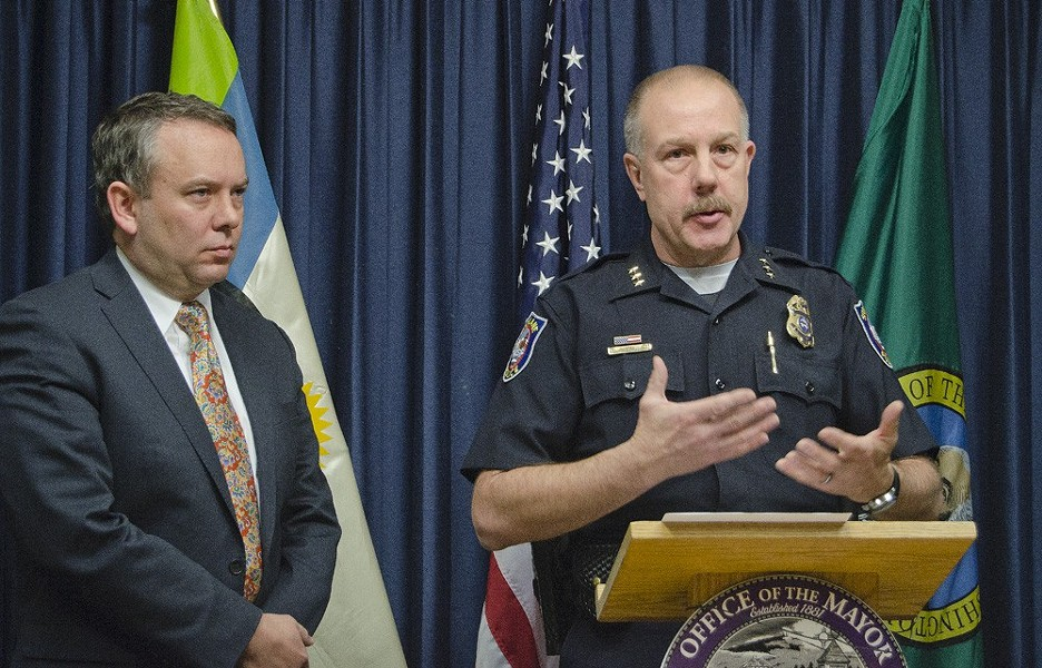 Mayor David Condon and Police Chief Frank Straub in happier times