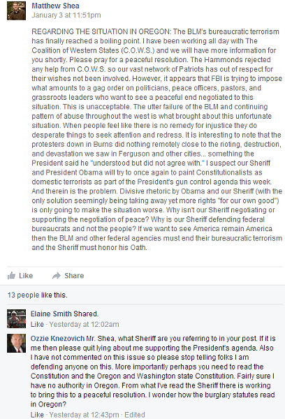 Rep. Matt Shea and Sheriff Ozzie Knezovich clash on Facebook over the militia conflict in Oregon