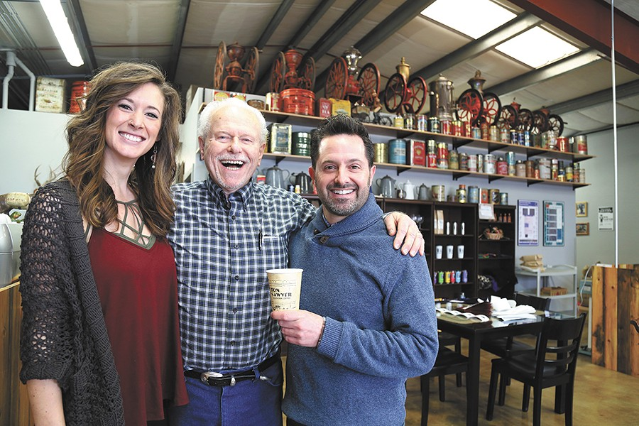 FROM LEFT: Sarah Young, Gary Tom Sawyer and Chris Pitotti at the new Tom Sawyer Country Coffee in Kendall Yards. - SARAH PHILP