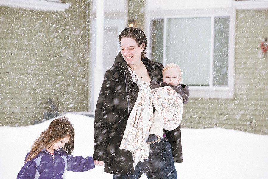 Babywearing education Jessica Hrehor and her daughter, Kalin, and her son, James. - KRISTEN BLACK