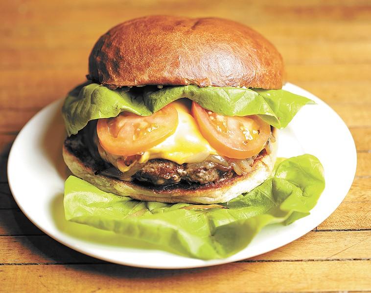 Backyard's burger, served on a brioche bun