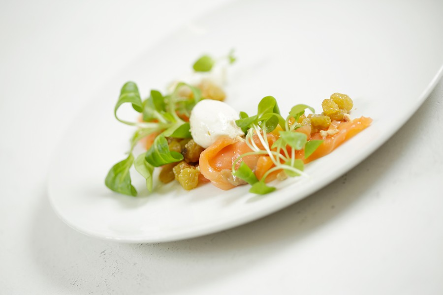 Luna's salmon lox with Bavarois cream, golden raisins and watercress - YOUNG KWAK
