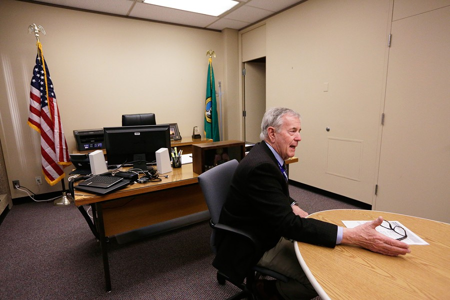 Jim McDevitt during an interview with an Inlander reporter following the first week at the helm of the Spokane Police Department - YOUNG KWAK