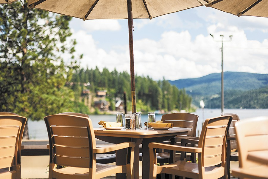 The patio at Tony's offer panoramic views of Lake Coeur d'Alene.