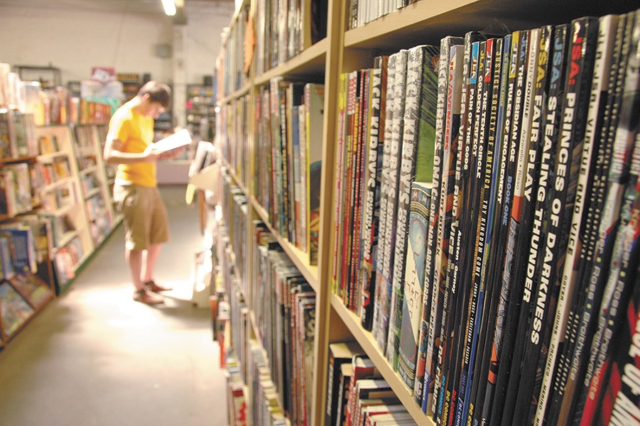 Graphic novels, sci-fi and games line the shelves at Merlyn's.