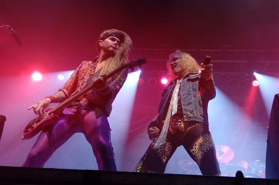 Glam-obsessed bassist Lexxi Foxx and Michael Starr share a moment. - DAN NAILEN
