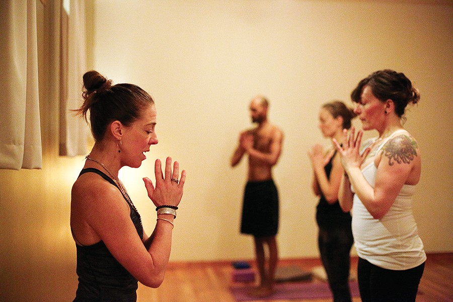 "Shelley Enlow (left): Ashtanga helps you discover, ""what your life is really about."" - YOUNG KWAK"