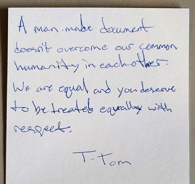 """A man-made document doesn't overcome our common humanity in each other."""