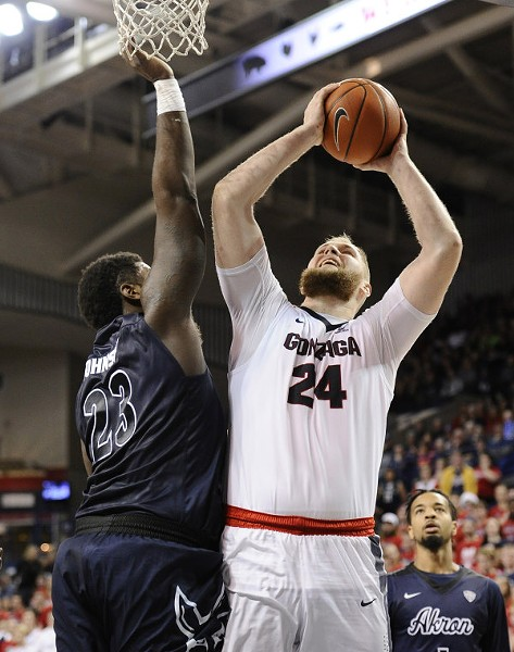 Przemek Karnowski led the Zags to a win over the Akron Zips on Saturday. - GONZAGA ATHLETICS