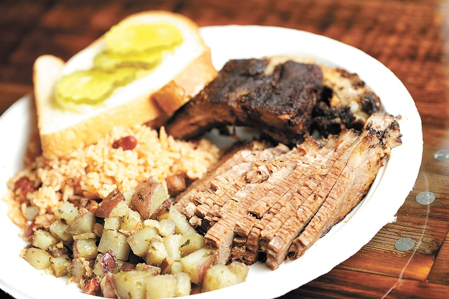 Smoked brisket with potatoes and red beans and rice. - YOUNG KWAK