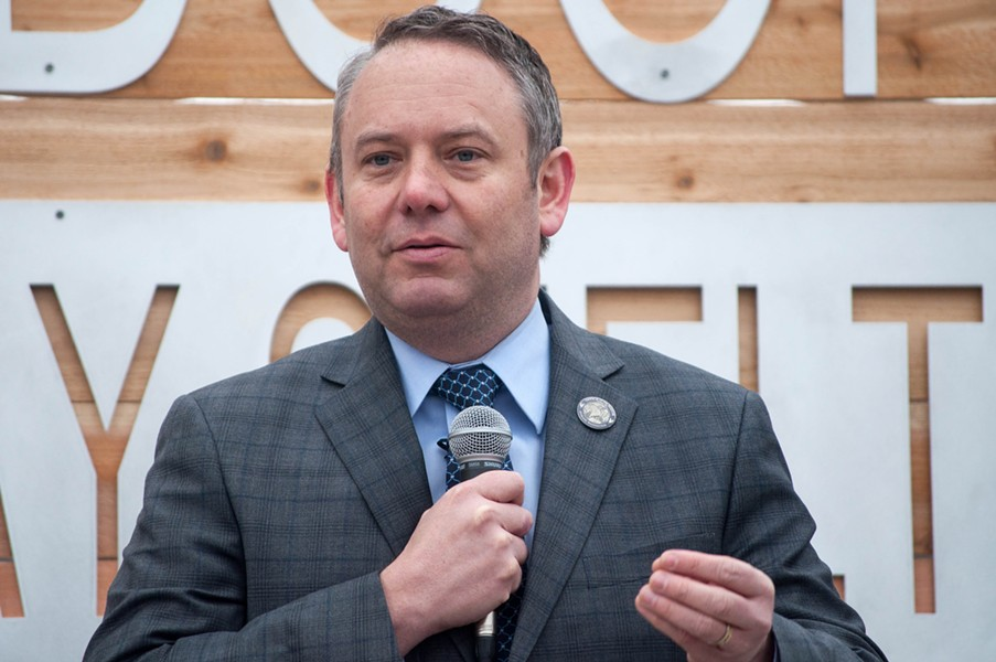 Spokane Mayor David Condon speaks at a ribbon cutting for the city's first daytime shelter for homeless families Thursday, Feb. 23, 2017. - SAMANTHA WOHLFEIL