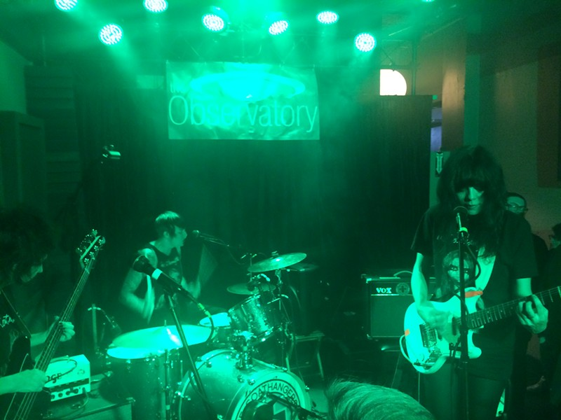 The Coathangers play their garage punk sound to an active Tuesday night crowd. - TUCK CLARRY