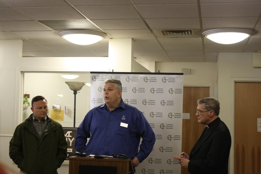 Rob McCann speaks during a press conference at House of Charity on Thursday. - SAMANTHA WOHLFEIL PHOTO