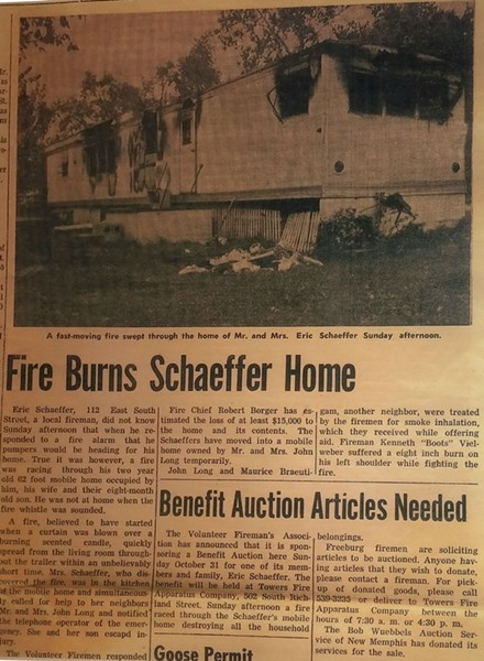 A 1971 Freeburg Tribune clipping shows how Schaeffer was rescued from a fire as a baby. - DANIEL WALTERS PHOTO