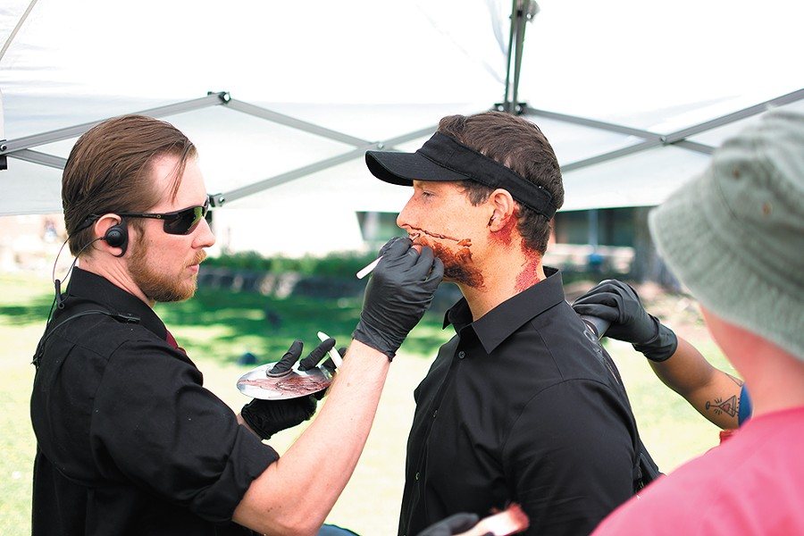 Logan Tobia, left, is the head of the makeup department for Z Nation. - STUART DANFORD