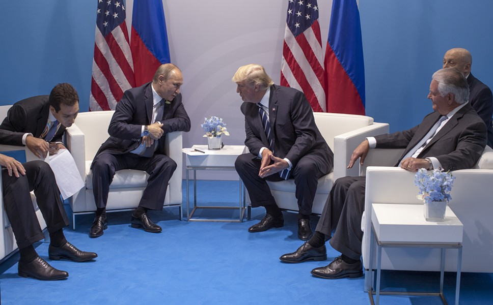 President Donald Trump during a meeting with Russian President Vladimir Putin at the G-20 summit in Hamburg, Germany, July 7, 2017. At right is Secretary of State Rex Tillerson. - STEPHEN CROWLEY/THE NEW YORK TIMES