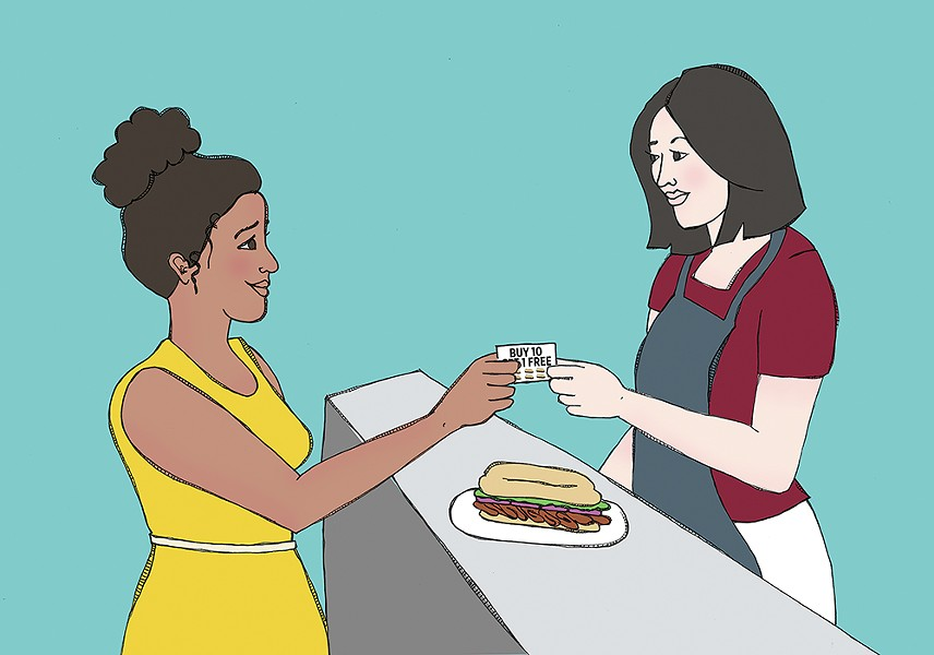Many restaurant loyalty programs are now going digital in place of paper punch cards. - JESSIE HYNES ILLUSTRATION