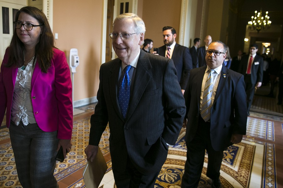 Senate Majority Leader Mitch McConnell (R-Ky.) is expected to move ahead with a procedural vote as early as Tuesday to take up the health care bill that narrowly passed the House in May. - AL DRAGO/THE NEW YORK TIMES