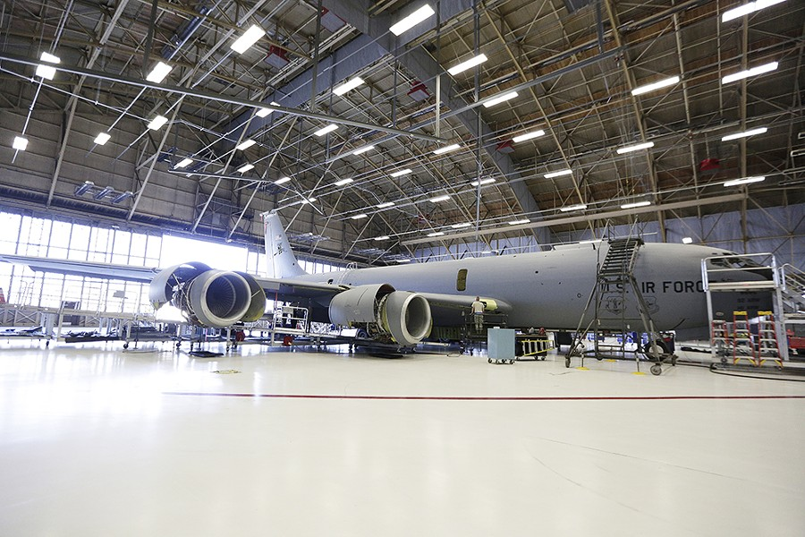 A KC-135 Stratotanker being taken apart for inspection at Fairchild. - YOUNG KWAK