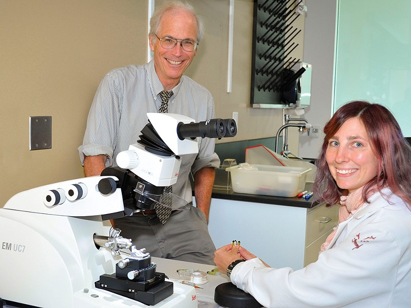 Pharmacy Professor Mike Gibson with Dr. Kara Vogel, who did foundational work for the research grant. - WSU PHOTO