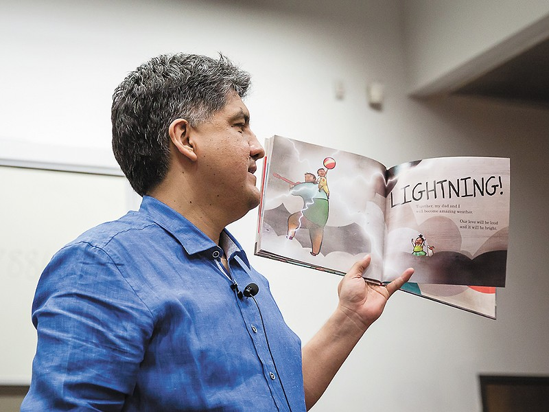 Sherman Alexie reading from his children's book, Thunder Boy Jr., at a literary event at Arizona State University last year. - BRUCE MATSUNAGA