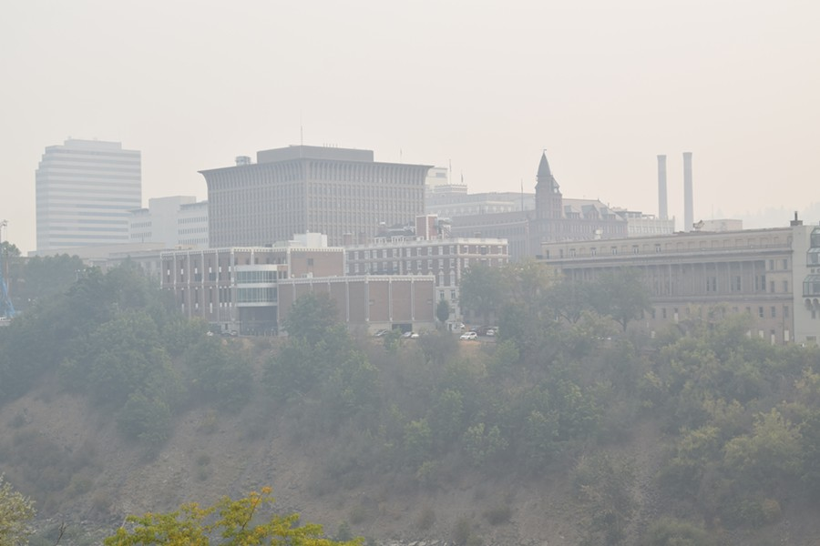 Smoke fills the Spokane air in this shot of downtown taken on Wednesday, Sept. 6. - WILSON CRISCIONE PHOTO