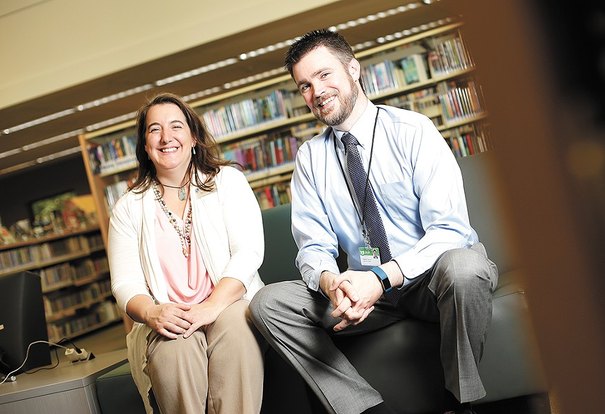 Library Services Manager Gwendolyn Haley and Executive Director Patrick Roewe. - YOUNG KWAK