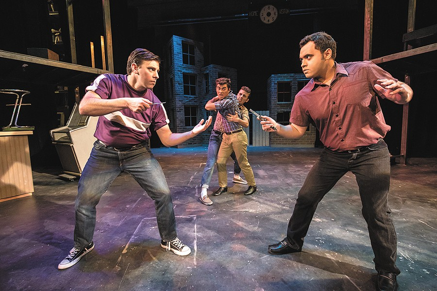 Pulling out the knives: Preston Loomer (left) as Riff and Arnoldo Heredia as Bernardo in West Side Story. - JEFF FERGUSON