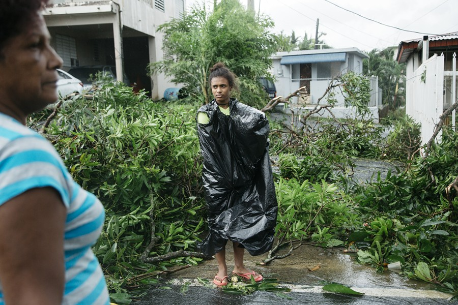 Keydeliz Nieves, 15, right, with her grandmother, Maria Nieves, views the aftermath of Hurricane Maria in Guaynabo, P.R., Sept. 20, 2017. Hurricane Maria battered Puerto Rico as a Category 4 storm  on Wednesday, sending thousands of people scrambling to shelters and knocking out power on the island. - ERIKA P. RODRIGUEZ/THE NEW YORK TIMES