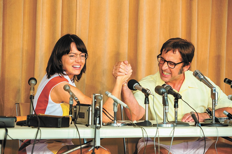 Thankfully, Battle of the Sexes is about a historic tennis match, not arm-wrestling showdown.