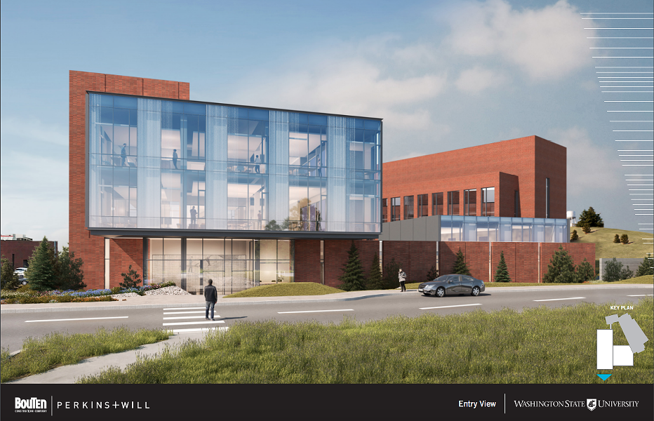 Washington State University is waiting on $23 million for phase 2 of its Global Animal Health building, shown in this rendering by Perkins+Will. - WASHINGTON STATE UNIVERSITY
