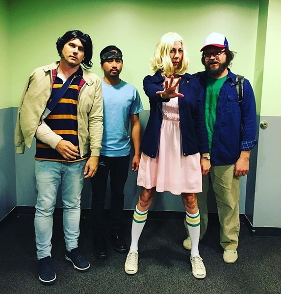 The costumes were great, but Silversun Pickups frontman Brian Aubert (left) wasn't feeling too hot last night.