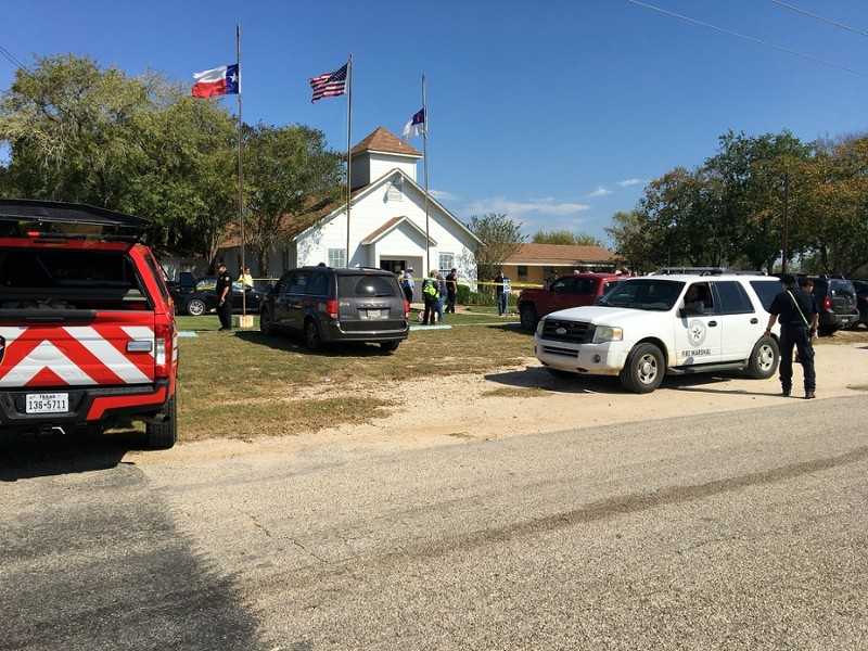 The area around a site of a mass shooting is taped out in Sutherland Springs, Texas on November 5, 2017, in this picture obtained via social media.