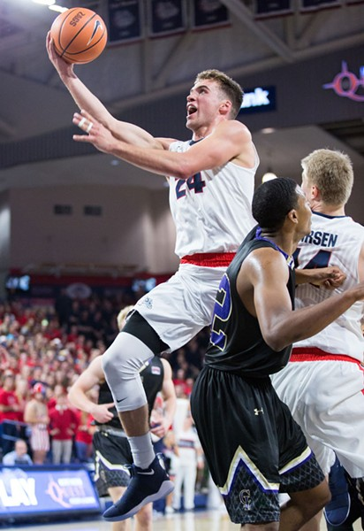 Freshman Corey Kispert made an impression in the Zags' first game on Friday, starting and scoring 10 points. - LIBBY KAMROWSKI