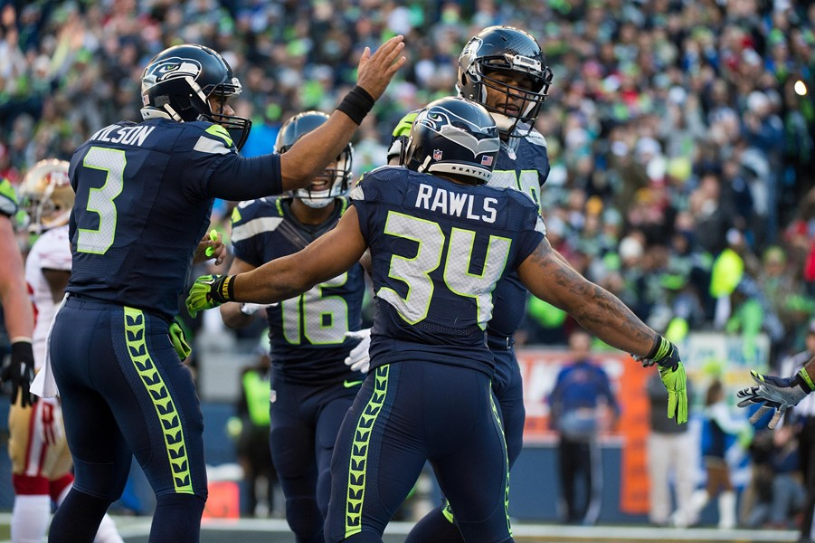 Russell Wilson, Thomas Rawls and the rest of the Seahawks hope to have something to celebrate tonight in their only Monday Night Football appearance when they host the Falcons, who knocked them out of last season's NFC playoffs. - SEAHAWKS.COM
