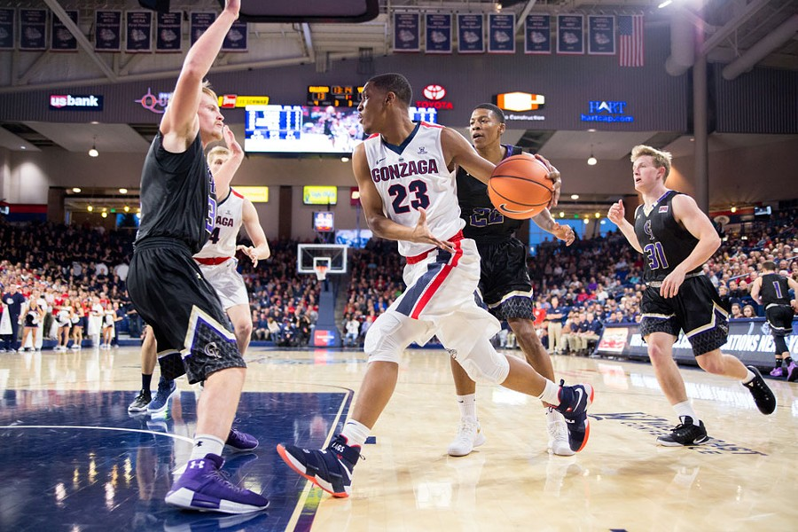 Zach Norvell, Jr., was a vital part of the Zags' beat-down of Saint Mary's this weekend. - LIBBY KAMROWSKI