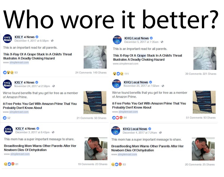 KHQ and KXLY are rivals — but both direct their readers to the same viral content site using the exact same Facebook posts - DANIEL WALTERS COLLAGE