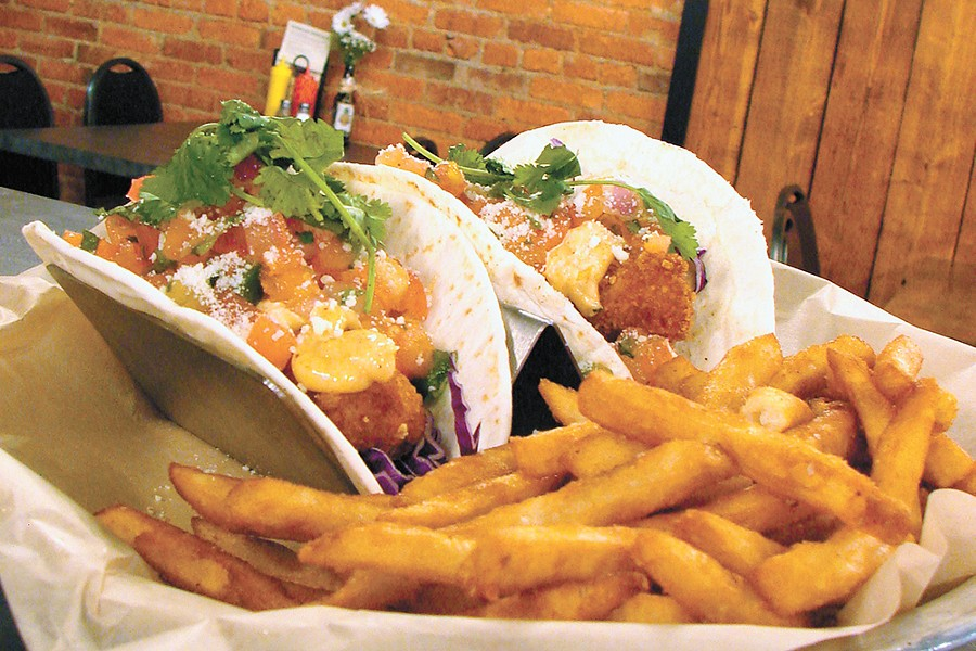 The Main Street Tacos with fries. - CARRIE SCOZZARO