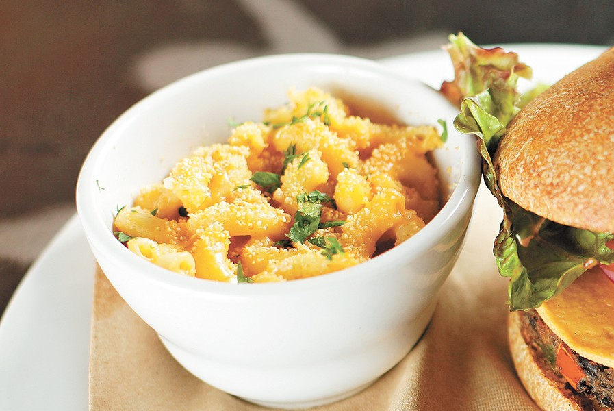 Saranac's vegan mac and cheese is made with soy milk and cashews. - YOUNG KWAK