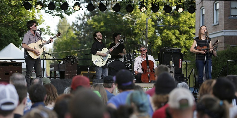Saturday Evening At Elkfest Folkinception performs. Young Kwak