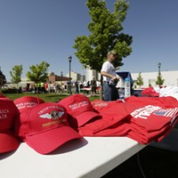 Scenes from Donald Trump's Campaign Rally in Spokane Republican presidential candidate Donald Trump merchandise is available for sale before a campaign rally. Young Kwak