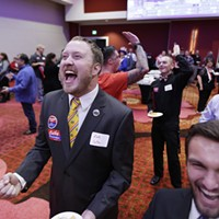 Republican Party Election Night Event Kelly Lotze, left, and Tanner Stepp react as the state of Ohio is called for Republican Presidential candidate Donald Trump. Young Kwak